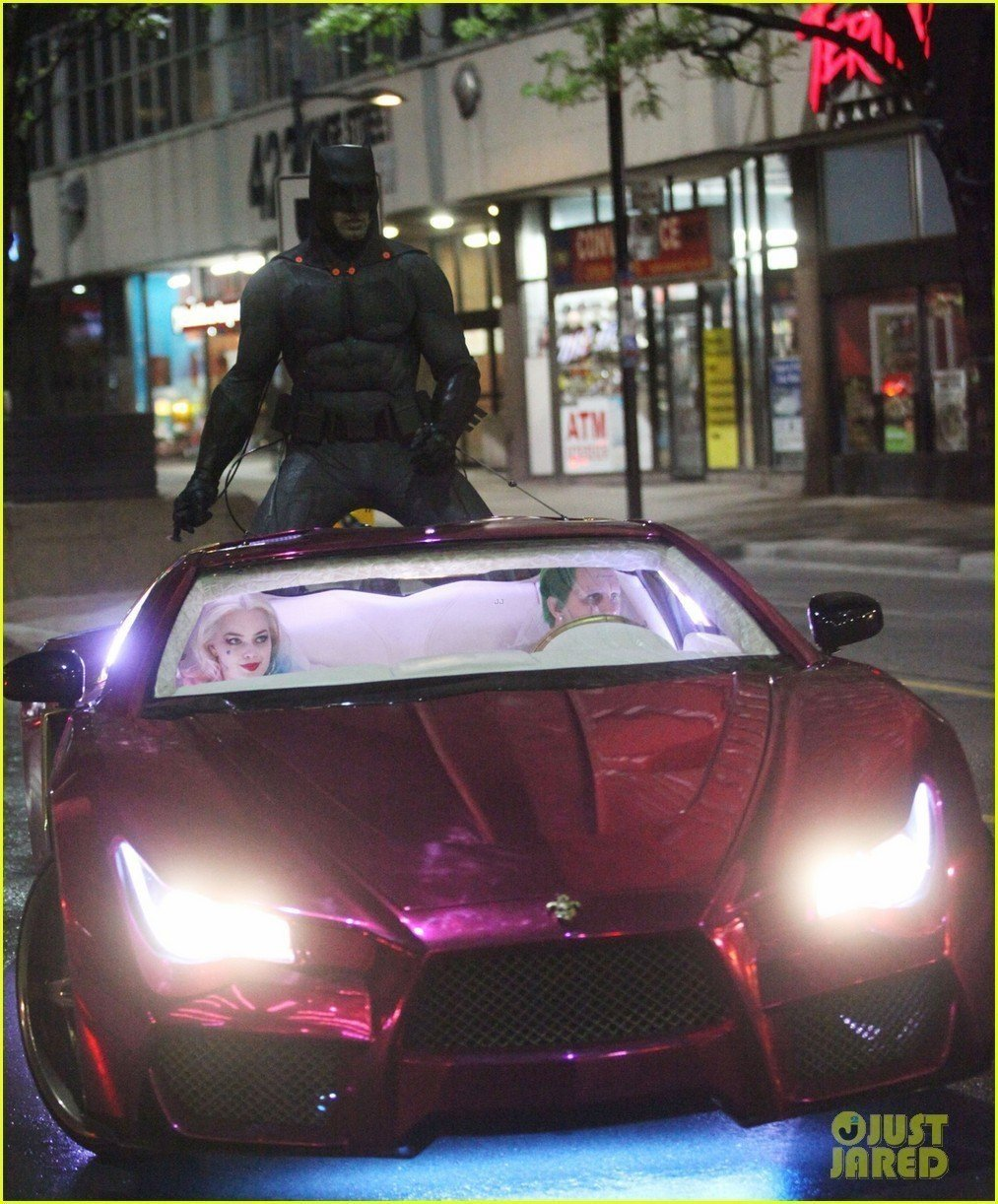 Margot Robbie, Jared Leto and Ben Affleck seen filming on set of Suicide Squad in Toronto