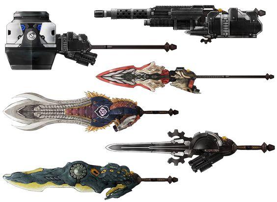 Le categorie di armi principali del gioco. D'alto verso il basso: Fucile