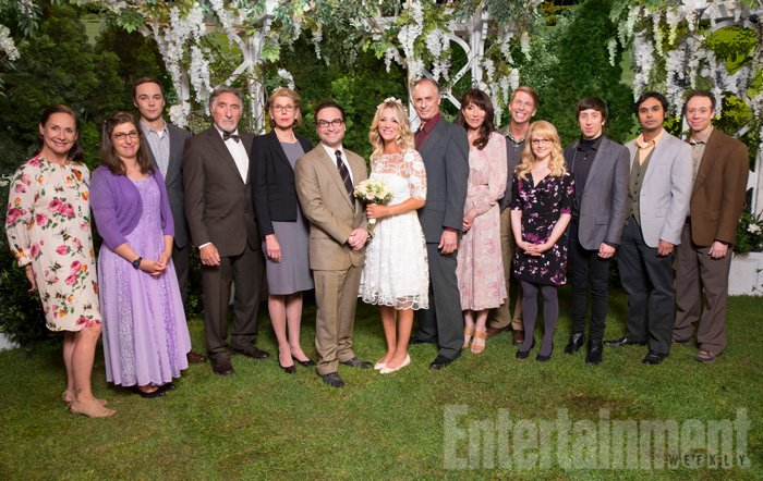 """""""The Conjugal Conjecture"""" – Pictured: Mary (Laurie Metcalf), Amy Farrah Fowler (Mayim Bialik), Sheldon Cooper (Jim Parsons), Alfred (Judd Hirsch), Beverly (Christine Baranski), Leonard Hofstadter (Johnny Galecki), Penny (Kaley Cuoco), Wyatt (Keith Carradine), Susan (Katy Sagal), Randall (Jack McBrayer), Bernadette (Melissa Rauch), Howard Wolowitz (Simon Helberg), Rajesh Koothrappali (Kunal Nayyar) and Stuart (Kevin Sussman). After Sheldon's mother and Leonard's father share an evening together, everyone deals with an awkward morning the next day. Also, Penny's family arrives for the wedding ceremony, including her anxiety-ridden mother, Susan (Katey Sagal), and her drug dealing brother, Randall (Jack McBrayer), on the 10th season premiere of THE BIG BANG THEORY, Monday, Sept. 19 (8:00-8:30 PM, ET/PT), on the CBS Television Network. Dean Norris guest stars as Colonel Williams, an Air Force Representative from the Department of Materiel Command. Christine Baranski, Laurie Metcalf, Judd Hirsch and Keith Carradine return. Photo: Monty Brinton/Warner Bros. Entertainment Inc. © 2016 WBEI. All rights reserved."""
