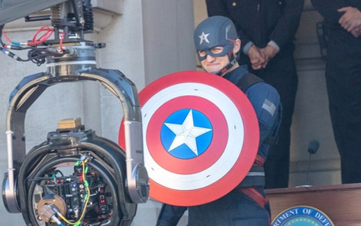 Wyatt Hawn Russell sul set di Falcon and the winter Soldier